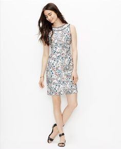 Primary Image of Piped Floral Sheath Dress