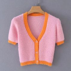 Check out this Contrast Binding Fuzzy Cardigan on Shein and explore more to meet your fashion needs! Cardigan Rosa, Short Sleeve Cardigan, Pink Cardigan, Yellow Sweater, Long Sleeve Tops, Cropped Pullover, Cropped Sweater, Cheap Cardigans, Cardigans For Women