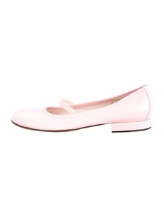 Pink leather Casadei round-toe flats with tonal stitching, elasticized strap at uppers and covered heels.