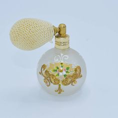 Perfume Atomizer Frosted Glass Bottle Vintage Gold Painted