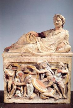 Cinerary urn with lid from Chiusi, Città della Pieve, Etruscan, 3rd-2nd century BC