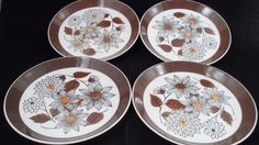 4 Retro Groovy Mid Century Modern Mikasa Ben Seibel Frolic Flower Lunch Plates