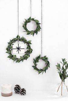 Decorative Christmas wreaths hanging on the wall.
