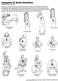 Computer and Office Desk Stretches. Now all I need is a desk workout and I'm set!