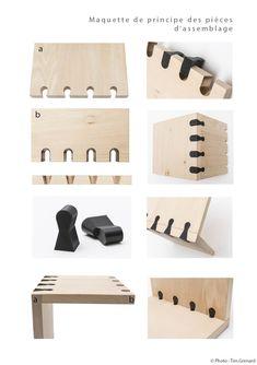 Les assemblages en bois traditionnels constituent à eux seuls un motif. Pensés pour une production en série, la gamme de meubles « Arronde », s'inspire de ces deux fonctions structurelle et décorative. Elle se compose de panneaux en bois usinés, de pièces d'assemblage autobloquantes en métal ou plastique, et de pieds en métal. Elle ne nécessite pas de colle, ni de vis. Le principe d'assemblage permet de nombreuses possibilités esthétiques (essence du bois, coloris du métal) et une grande…