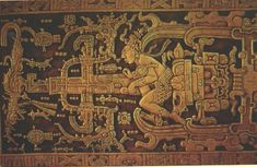 "Sarcophagus lid of Pakal the great, which according to Von Däniken represents an ""ancient astronaut"" ascending to the stars in his spaceship."