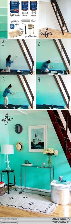 Ombre Wall - So keen to try this in my new room! // Make your home stylish from the floor to ceiling with a freshly painted feeling! Ombre Painted Walls, Ombre Walls, Blue Walls, Future House, My House, House Wall, Ideias Diy, Home And Deco, My New Room