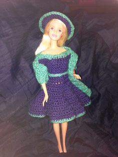 Dress, hat and sca rf for Barnie. #crochet ~ inspiration only as it is only a pic.
