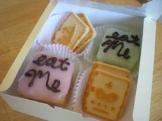 """Alice in Wonderland Birthday Party! / """"Eat Me"""" petit fours and some Chessmen cookies."""