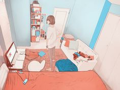 anime, room, and art-bilde