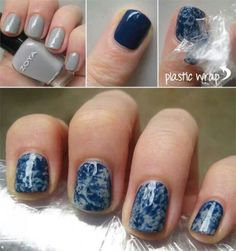 Marble nails with platic wrap