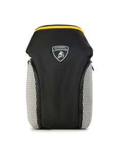 The Automobili-Lamborghini backpack is the epitome of functionality and fine design. Made from a hi-tech fabric, it has been embellished with a contrast-colour zip and 3D hi-tech mesh which references the hexagonal detailing on the super-sports cars made by the legendary Sant'Agata Bolognese brand.