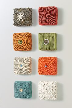 Ceramic Wall Sculpture - Hand built from clay, these eye-catching, intricate sculptures add a pop of color and texture to your wall. Ready to hang. Each is approx. 4.5sq, 2.5d. Clay Wall Art, Ceramic Wall Art, Tile Art, Clay Texture, Texture Art, Texture Painting, Etsy Embroidery, Christmas Embroidery Patterns, Wall Boxes