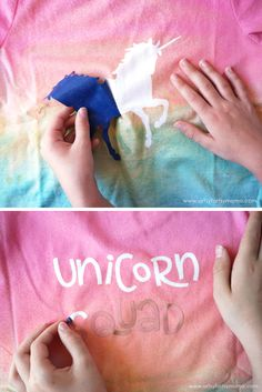 DIY Unicorn Shirt made with vinyl and fabric spray paint!