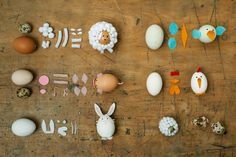 Easter decoration with animals out of egg shells.