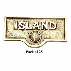 25 Switch Plate Tags ISLAND Name Signs Labels Lacquered Brass