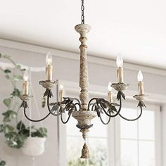 LALUZ 6 Lights French Country Chandelier with Metal Flower Arms in Distressed Wood and Rusty Steel Finish, Large Shabby Chic Dining Room Pendant Light Fixture, – Kitchen Chandelier İdeas. Dining Chandelier, Dining Room Light Fixtures, Farmhouse Chandelier, Dining Room Lighting, Pendant Light Fixtures, Ceiling Pendant, Kitchen Lighting, Pendant Lights, Island Lighting
