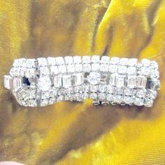Vintage Rhinestone Cuff Bracelet Designer by nanascottagehouse, $65.00