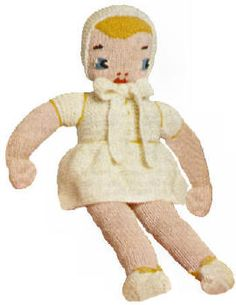22 inch  Rag Doll & Clothes Vintage Knitting Pattern to download