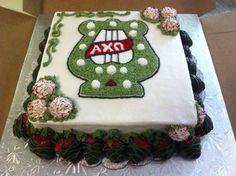ΑΧΩ Alpha Chi Omega AXO Lyre Red carnation Denton County Chapter Alumnae Greek Sorority Badge cake