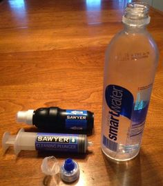 """From Erin """"Wired"""" Saver - Walking With Wired - The SmartWater water bottles, which many hikers use, have flip cap tops (.7L bottles) with a spout that fits perfectly with the Sawyer Squeeze spout and Sawyer Mini. Instead of carrying the Sawyer plunger, I will now just (use) my SmartWater bottle. I can squeeze the water from my clean water bottle through my Sawyer filter to backflush it....wonderful!"""