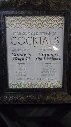 Gatsby inspired signature drinks for Karthiga & Demitri's big day