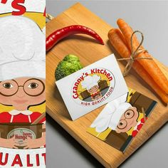 Cartoon style LOGO design for @grannyskit copyright by Super Zuper Design www.s-z-design.com #copyright #logo #logodesign #design #higherme #graphicdesign #follow #restaurant #food #meal #carrot #pepper #paprika #cuttingboard #kitchen #granny #chef #highlights #modern #etsy