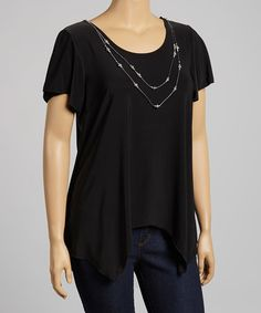 This Black Necklace Cap-Sleeve Top - Plus is perfect! #zulilyfinds
