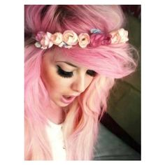 Pink Flower Crown 2016 ❤ liked on Polyvore featuring accessories, hair accessories, pastel, pink, pink hair, pink hair accessories, pink garland, floral crown, floral garland and pink flower crown