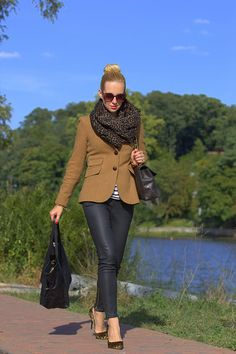 black leather pants, brown tweed blazer, striped shirt, leopard scarf, leopard pumps