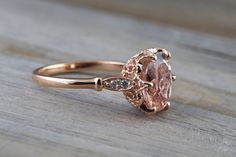 14k Rose Gold 10x8mm Oval Morganite Round Cut Diamonds Art Deco Vintage Design Ring