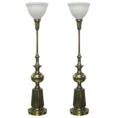 Pair Brass Stiffel Lamps | $3,100 | From a unique collection of antique and modern table lamps at https://www.1stdibs.com/furniture/lighting/table-lamps/