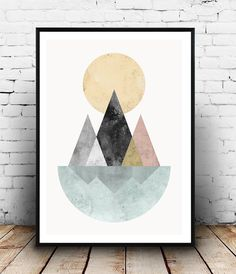 Mountains print, Watercolor print, geometric wall art, nature print…