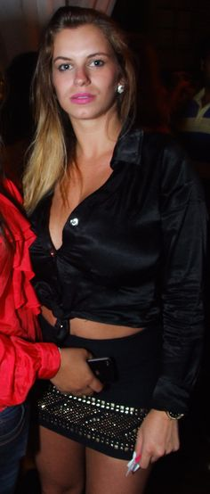 Black satin unbuttoned blouse in Sao Paulo aa