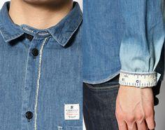 (8) Dip Bleach Denim Button Up Work Shirt - Blended Hemp Cotton Yarn - R.Newbold Japan by Paul Smith Dip Dyed Sea Salt Ombre Style Bleached Denim Jacket Outerwear & Button Up Jean Shirt Picks