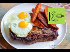 Steak, Egg and Chips I stevescooking Cooking The Perfect Steak, Runny Eggs, Horseradish Cream, Crispy Onions, Juicy Steak, Cooking Videos, Smoked Paprika, Onion Rings, Cream Recipes