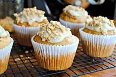 Fall is here! Start your mornings with a warm delicious pumpkin muffin, topped with cream cheese frosting and granola.