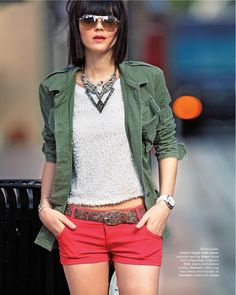 Green army jacket with red shorts