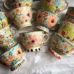 Glazes For Pottery, Ceramic Pottery, Pottery Art, Cute Coffee Mugs, Cute Mugs, Ceramic Cups, Ceramic Art, Mexican Paintings, Marble Mugs