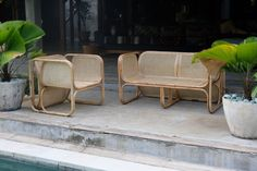 Above, L to R: The Cane Lounger is $849AUD and the Deux Cane Lounger is $1,350 AUD.