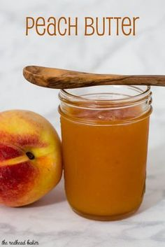 Peach Butter by The Redhead Baker for Peach butter is smoother and less sweet than peach preserves, resulting in a purer peach flavor. Canning peach butter preserves the flavor all year long. Home Canning Recipes, Cooking Recipes, Canning Tips, Peach Recipes For Canning, Can Peaches Recipes, Peach Jam Recipes, Peach Jelly Recipe Canning, How To Can Peaches, Jelly Recipes