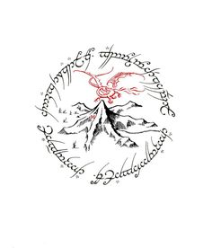 Made this tattoo design up in Photoshop.  Thinking this will be the next one I have done.  A combination of The One Ring text and the Lonely Mountain w/Smaug.  <3 **If anyone actually uses my design for a tattoo, I'd love to see the finished work.  Send it to me!  :)  @SaucyCandice
