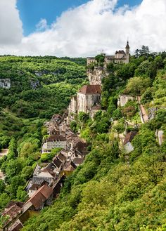 The chateau and village of Rocamadour. Situated on a cliff over the Lot River (a tributary of the Dordogne), Rocamadour is the second most visited site in France.