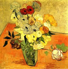 """""""Japanese Vase with Roses and Anemones, 1890 Vincent van Gogh """""""