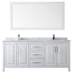 Wyndham Collection Daria 80 Double Bathroom Vanity Set with Mirror Grey Bathroom Vanity, Small Bathroom, Bathrooms, Master Bathroom, Carrara Marble Countertop, Square Sink, Mirror Backsplash, Vanity Set With Mirror, Cabinet Space