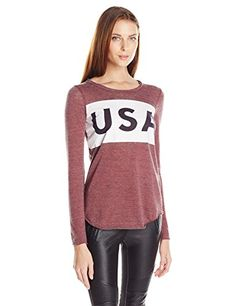 Chaser Womens USA Triblend Long Sleeve Crew Neck Tee