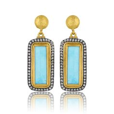 "Lika Behar 24KT Gold and Oxidized Sterling Silver Rectangular Cushion Cabochon Kingman Turquoise ""My World"" Earrings with Cognac Diamonds, 0.39cts with 18KT Gold Posts"