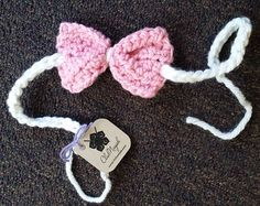 ClubNinjah Baby Headband, Pink Bow Tie Headband, Newborn - 6 months, Adjustable headband, Crochet baby headband