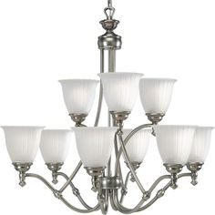 Buy the Progress Lighting Antique Nickel Direct. Shop for the Progress Lighting Antique Nickel Renovations Nine-Light Two-Tier Chandelier with Etched Glass Shades and save. Brushed Nickel Chandelier, Bronze Chandelier, Chandelier Shades, Chandelier Lighting, Large Foyer Chandeliers, Simple Chandelier, Unique Ceiling Fans, Fan Decoration, Progress Lighting