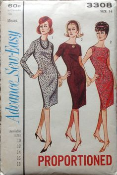 Butterick 3308 1960s  Misses  Sheath Dress Pattern womens proportioned vintage sewing pattern  by mbchills